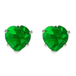 14Kt White Gold Emerald Heart Stud Earrings