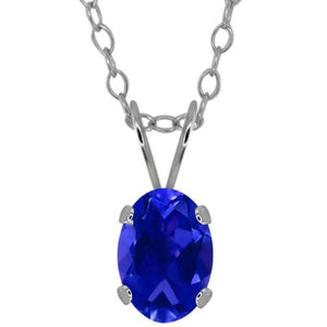 1.5 Ct Created Blue Sapphire Oval Pendant .925 Sterling Silver Rhodium Finish