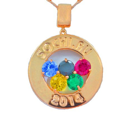 Sochi Olympics Medallion 2014 Gemstone Pendant 14Kt Yellow Gold Plated Over .925 Sterling Silver