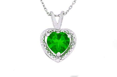 1 Ct Created Emerald & Diamond Heart Pendant .925 Sterling Silver Rhodium Finish