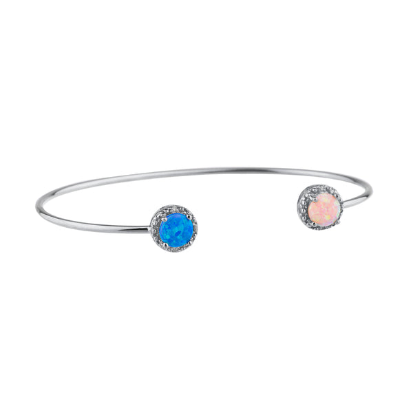 Blue Opal & Pink Opal Diamond Bangle Round Bracelet .925 Sterling Silver Rhodium Finish
