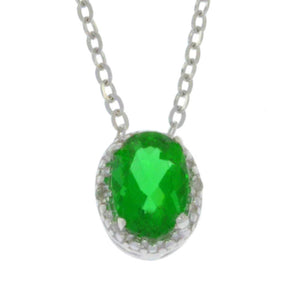 1 Ct Emerald & Diamond Oval Pendant .925 Sterling Silver