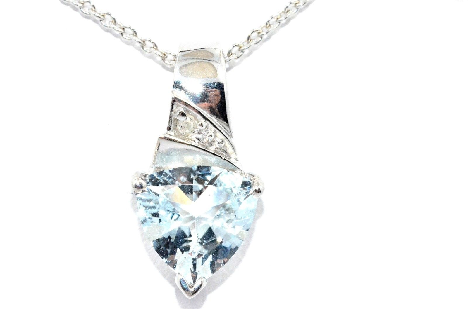 1.5 Ct Aquamarine & Diamond Trillion Pendant .925 Sterling Silver