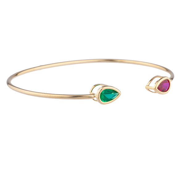 Created Ruby & Emerald Pear Bezel Bangle Bracelet 14Kt Yellow Gold Plated Over .925 Sterling Silver