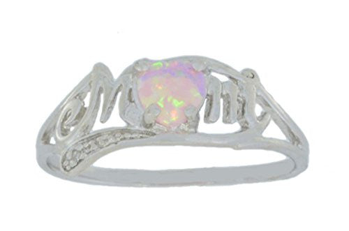Pink Opal & Diamond Heart Mom Ring .925 Sterling Silver Rhodium Finish