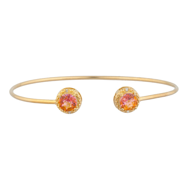 14Kt Yellow Gold Plated Natural Ecstasy Mystic Topaz & Diamond Round Bangle Bracelet