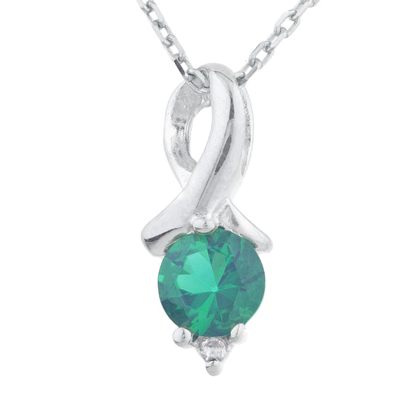 0.50 Ct Emerald & Diamond Round Design Pendant .925 Sterling Silver