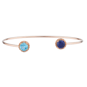 Blue Sapphire & Blue Topaz Diamond Bangle Round Bracelet 14Kt Rose Gold Plated Over .925 Sterling Silver