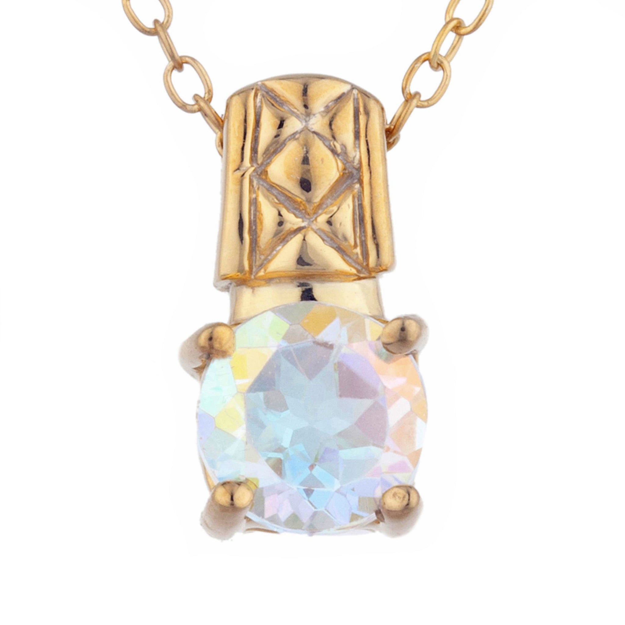 14Kt Yellow Gold Plated Natural Mercury Mist Mystic Topaz Round Design Pendant
