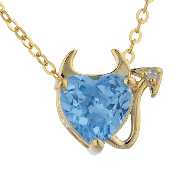 1.5 Ct Blue Topaz & Diamond Devil Heart Pendant 14Kt Yellow Gold Silver