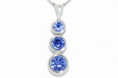 3 Tanzanite Round Bezel Pendant .925 Sterling Silver Rhodium Finish