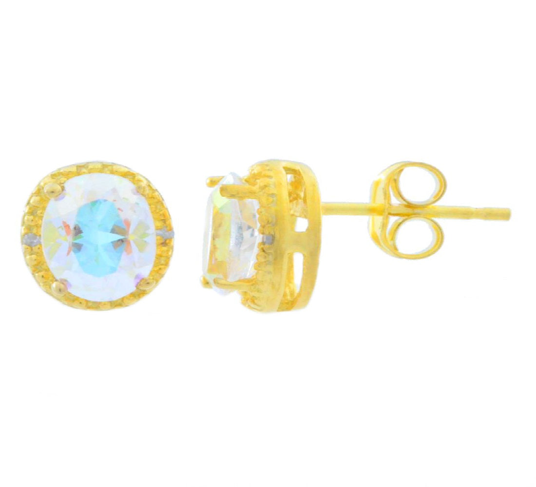 2 Ct Natural Mercury Mist Mystic Topaz & Diamond Round Stud Earrings 14Kt Yellow Gold