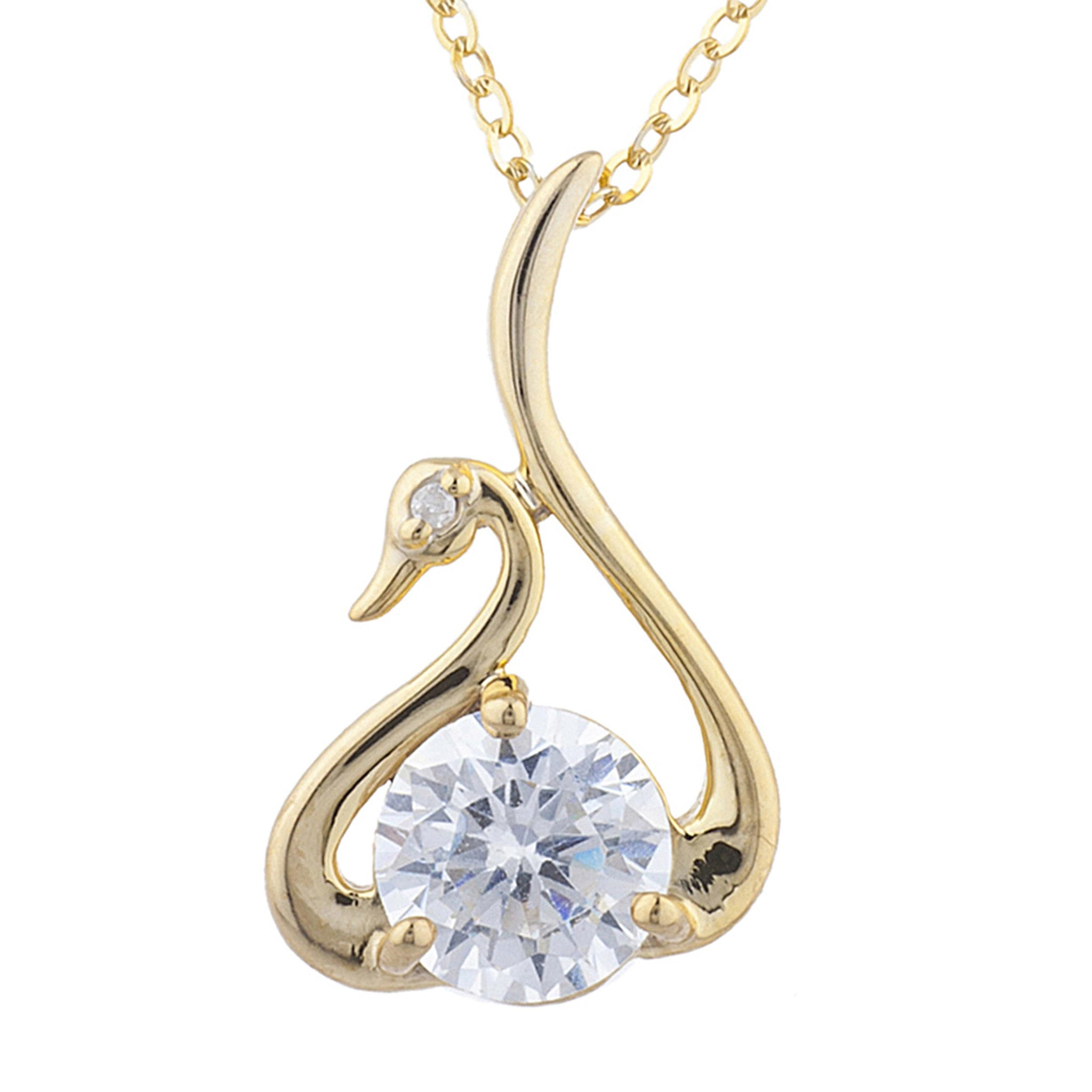 14Kt Yellow Gold Plated White Sapphire & Diamond Swan Pendant