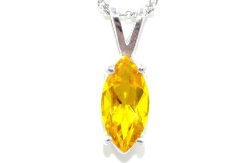 1 Carat Yellow Citrine Marquise Pendant .925 Sterling Silver Rhodium Finish