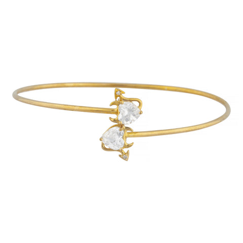 14Kt Gold White Sapphire & Diamond Devil Heart Bangle Bracelet