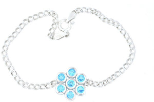1.75 Ct Blue Topaz Bezel Bracelet .925 Sterling Silver Rhodium Finish [Jewelry]