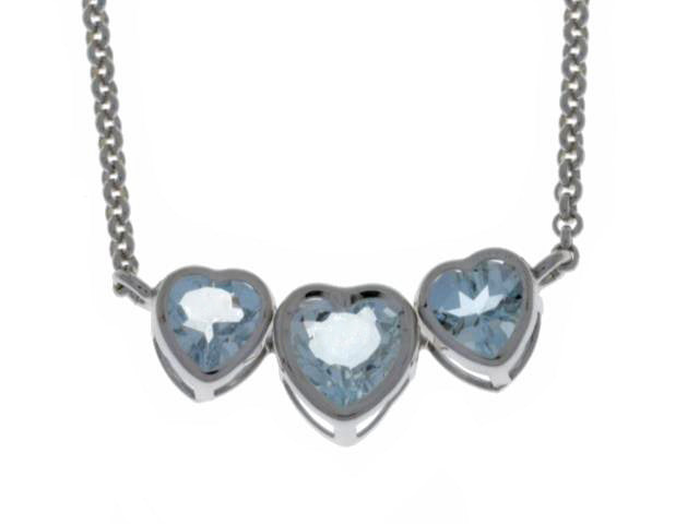 2 Carat Genuine Aquamarine Heart Bezel Pendant .925 Sterling Silver Rhodium Finish