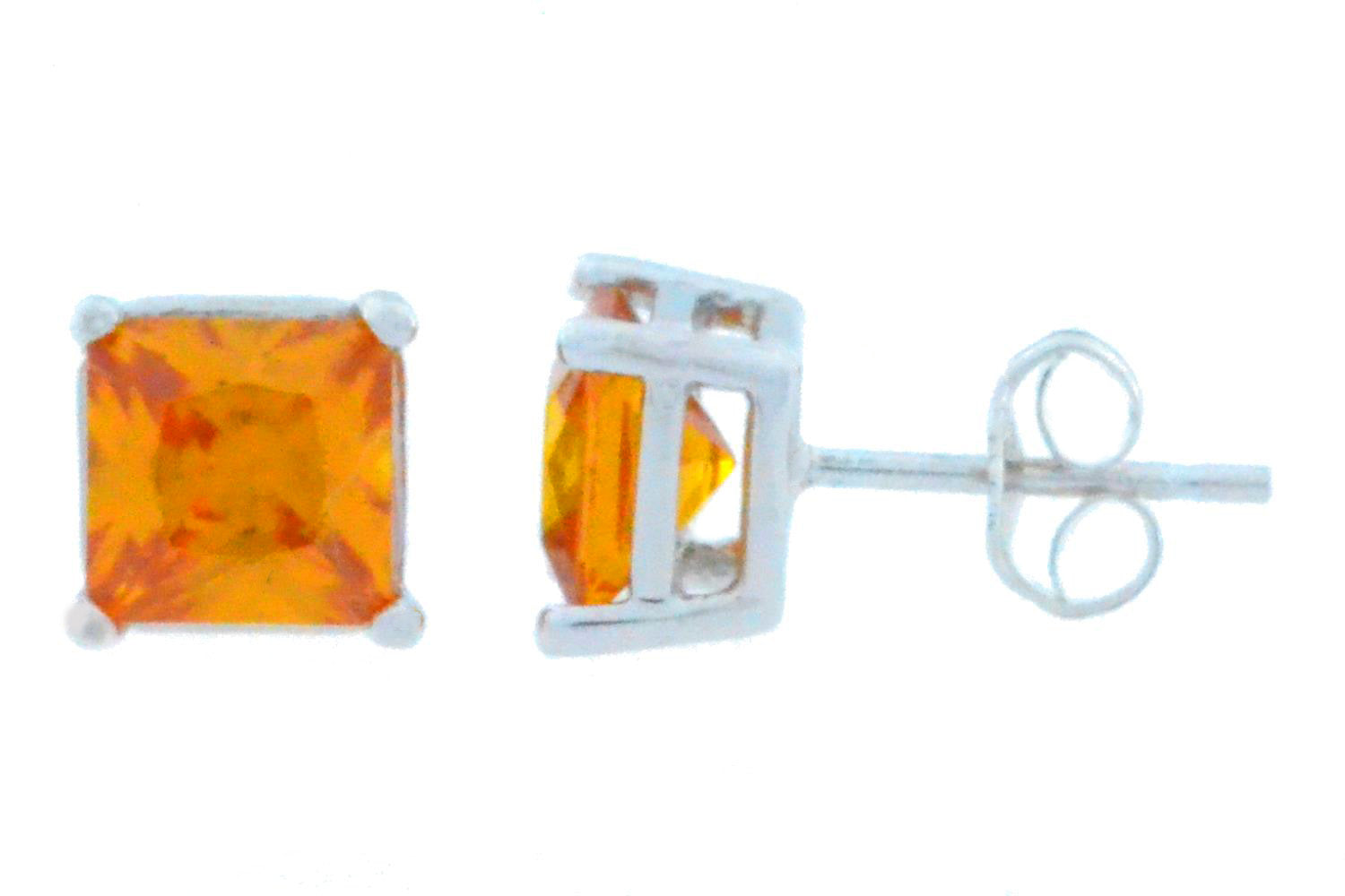 2 Ct Citrine Princess Cut Stud Earrings 14Kt White Gold