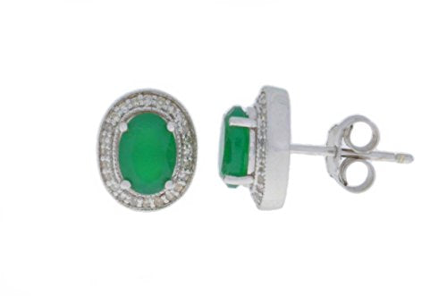 2 Ct Green Agate & Diamond Oval Stud Earrings .925 Sterling Silver Rhodium Finish