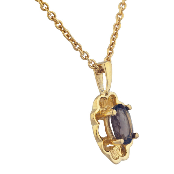 14Kt Yellow Gold Plated Genuine Smoky Topaz Oval Design Pendant