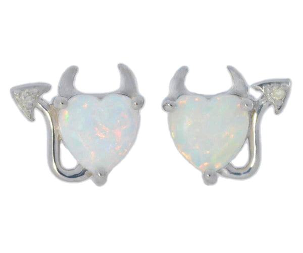 Opal & Diamond Devil Heart Stud Earrings .925 Sterling Silver