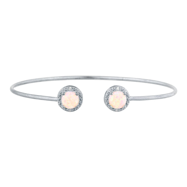 Pink Opal & Diamond Round Bangle Bracelet .925 Sterling Silver