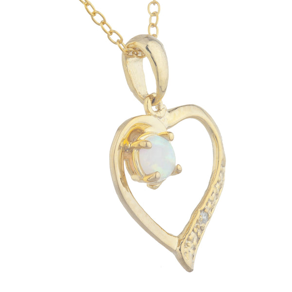 14Kt Yellow Gold Plated Genuine Opal & Diamond Heart Pendant