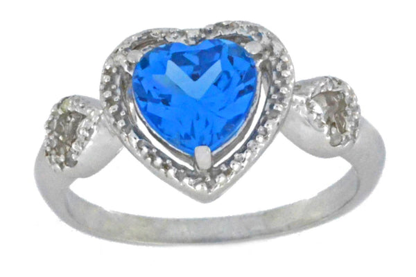 1.5 Ct London Blue Topaz & Diamond Heart Ring .925 Sterling Silver Rhodium Finish