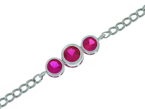 2 Ct Ruby Round Bezel Bracelet .925 Sterling Silver Rhodium Finish