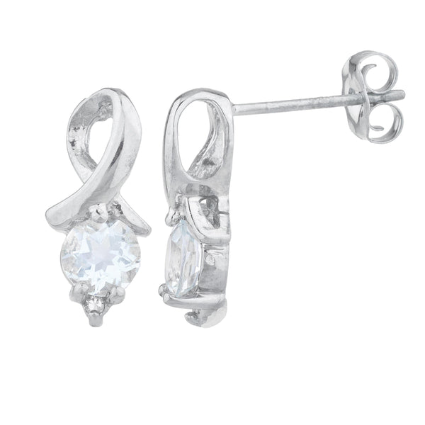 1 Ct Aquamarine & Diamond Round Design Stud Earrings .925 Sterling Silver