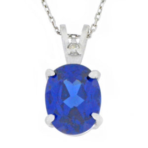 2.5 Ct Created Blue Sapphire & Diamond Oval Pendant .925 Sterling Silver Rhodium Finish
