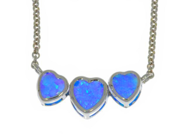 Blue Opal Heart Bezel Pendant .925 Sterling Silver Rhodium Finish
