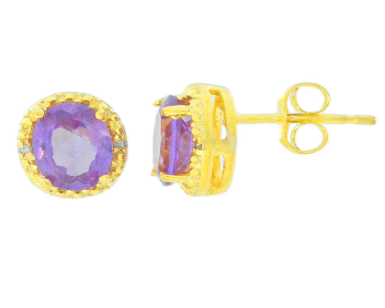 2 Ct Alexandrite & Diamond Round Stud Earrings 14Kt Yellow Gold
