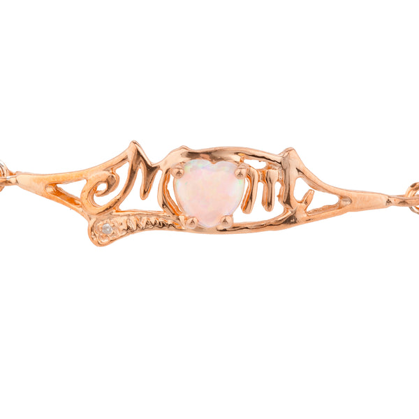 Pink Opal & Diamond Heart Mom Bracelet 14Kt Rose Gold Plated Over .925 Sterling Silver