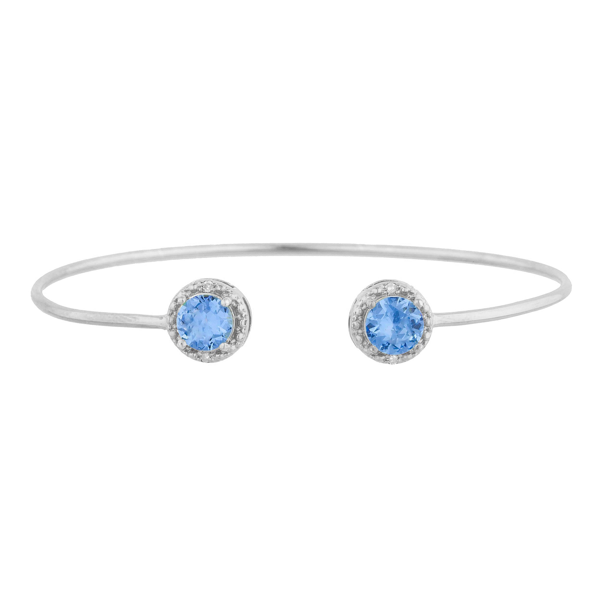 2 Ct Tanzanite & Diamond Round Bangle Bracelet .925 Sterling Silver