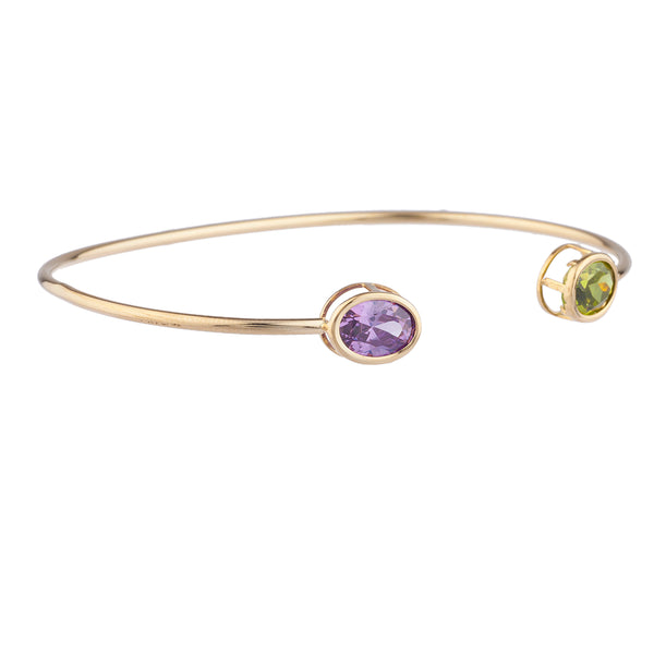 Peridot & Amethyst Oval Bezel Bangle Bracelet 14Kt Yellow Gold Plated Over .925 Sterling Silver