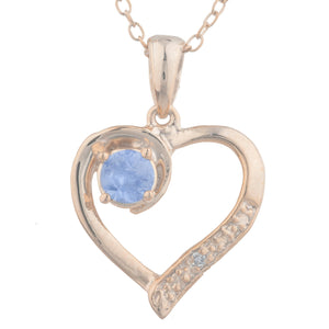 14Kt Rose Gold Plated Tanzanite & Diamond Heart Pendant