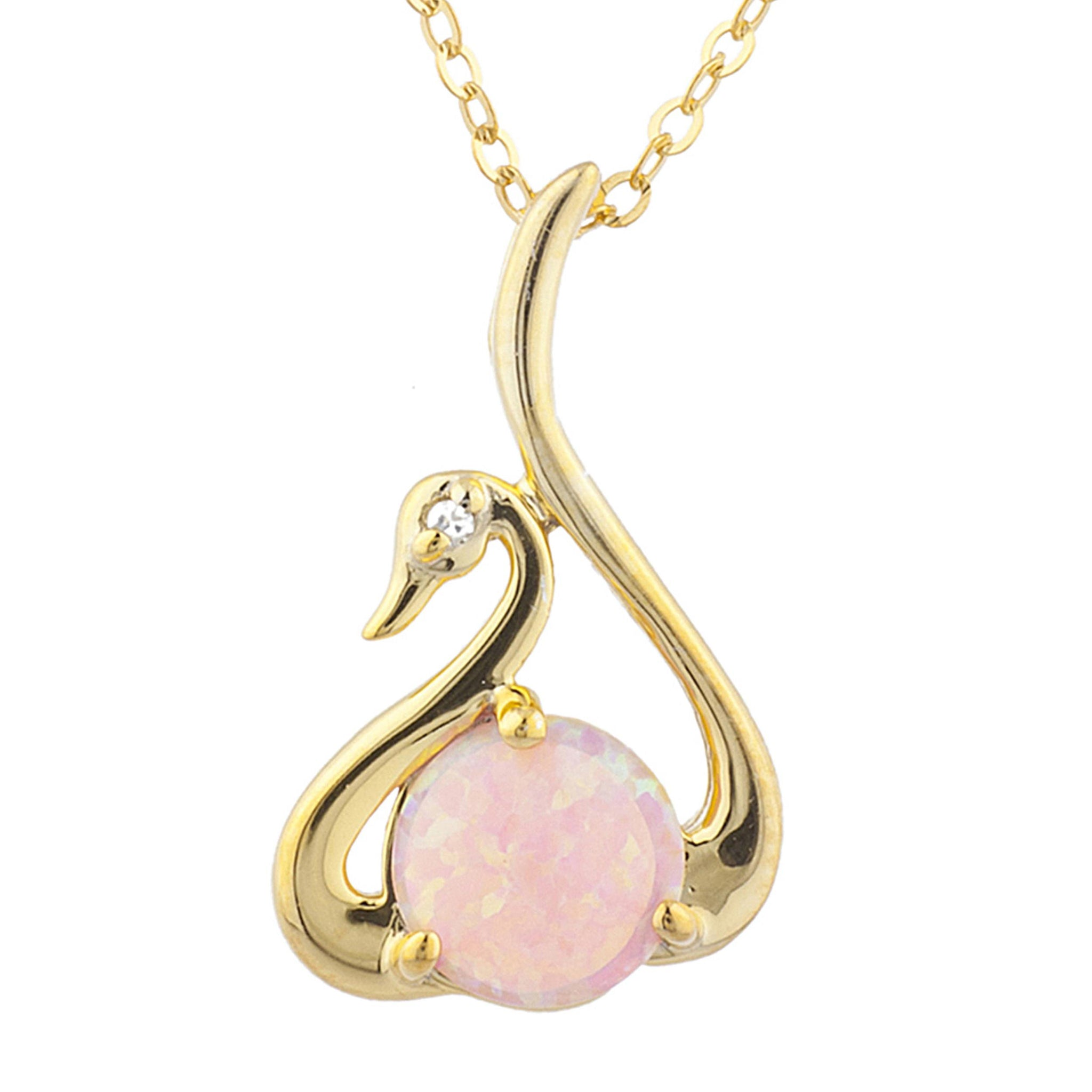 14Kt Yellow Gold Plated Pink Opal & Diamond Swan Pendant