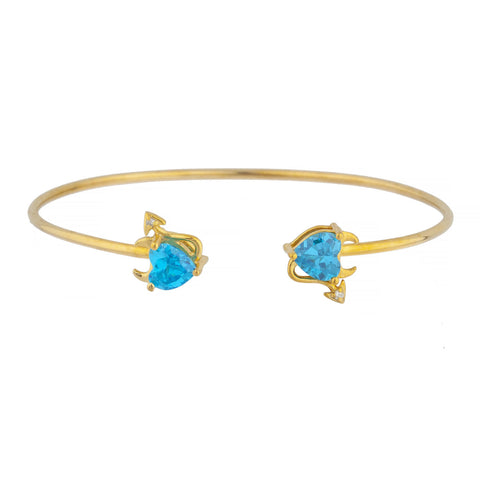 Swiss Blue Topaz & Diamond Devil Heart Bangle Bracelet 14Kt Yellow Gold Rose Gold Silver