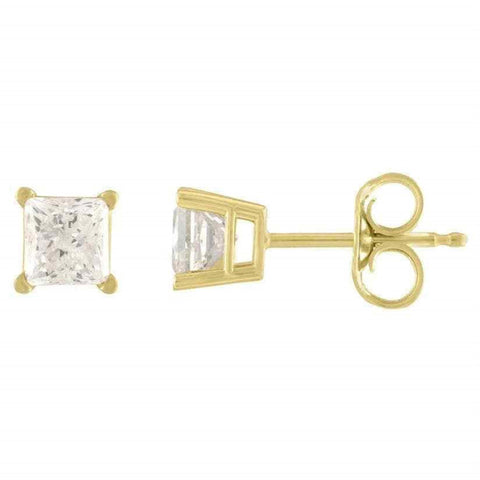 14Kt Yellow Gold 1 Ct Genuine Natural Diamond Princess Stud Earrings