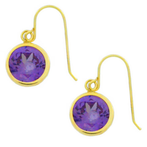 14Kt Yellow Gold Amethyst 6mm Round Bezel Dangle Earrings