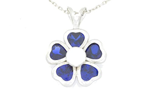 2.5 Ct Blue Sapphire Heart & White Freshwater Pearl Bezel Pendant .925 Sterling Silver Rhodium Finish