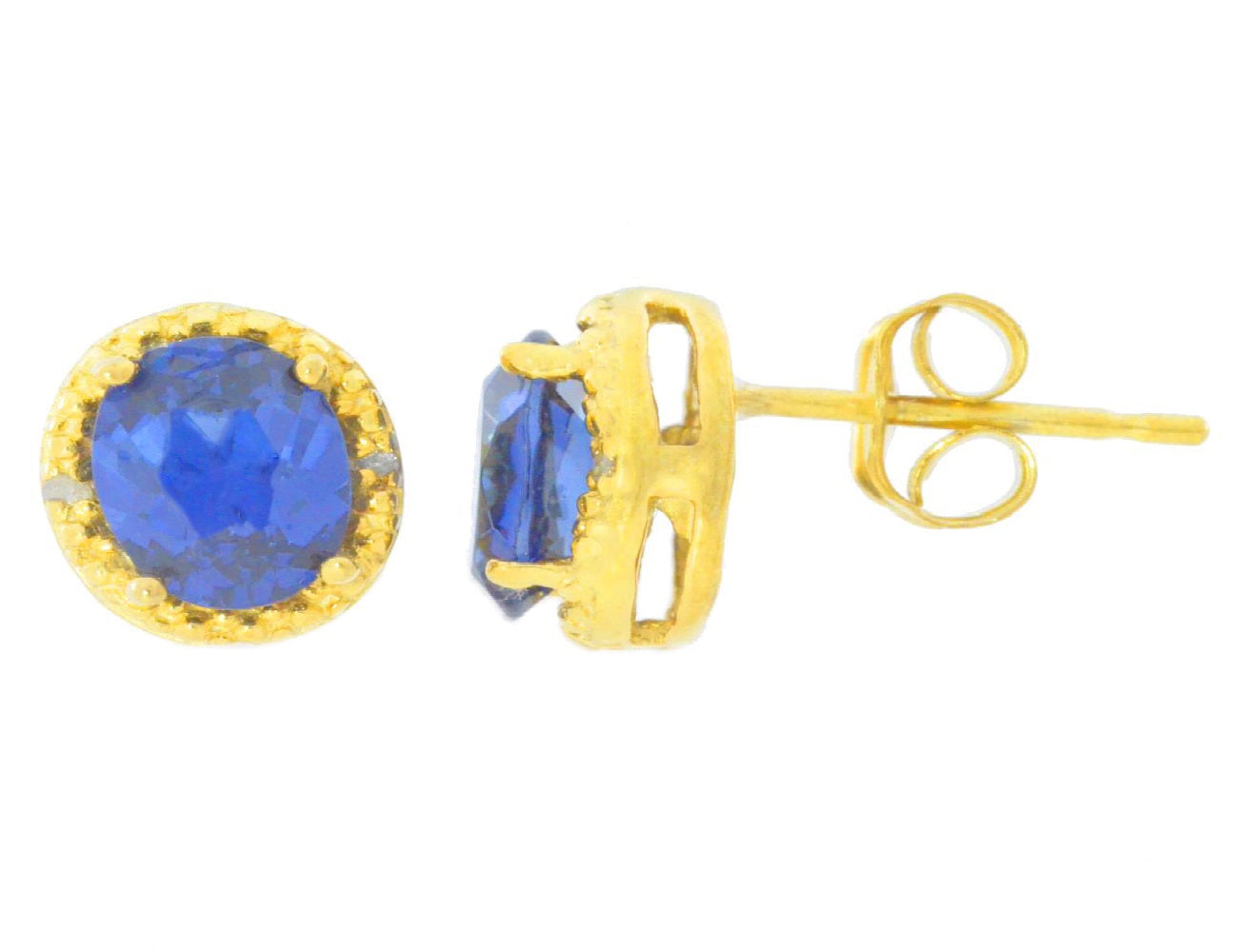 2 Ct Created Blue Sapphire & Diamond Round Stud Earrings 14Kt Yellow Gold