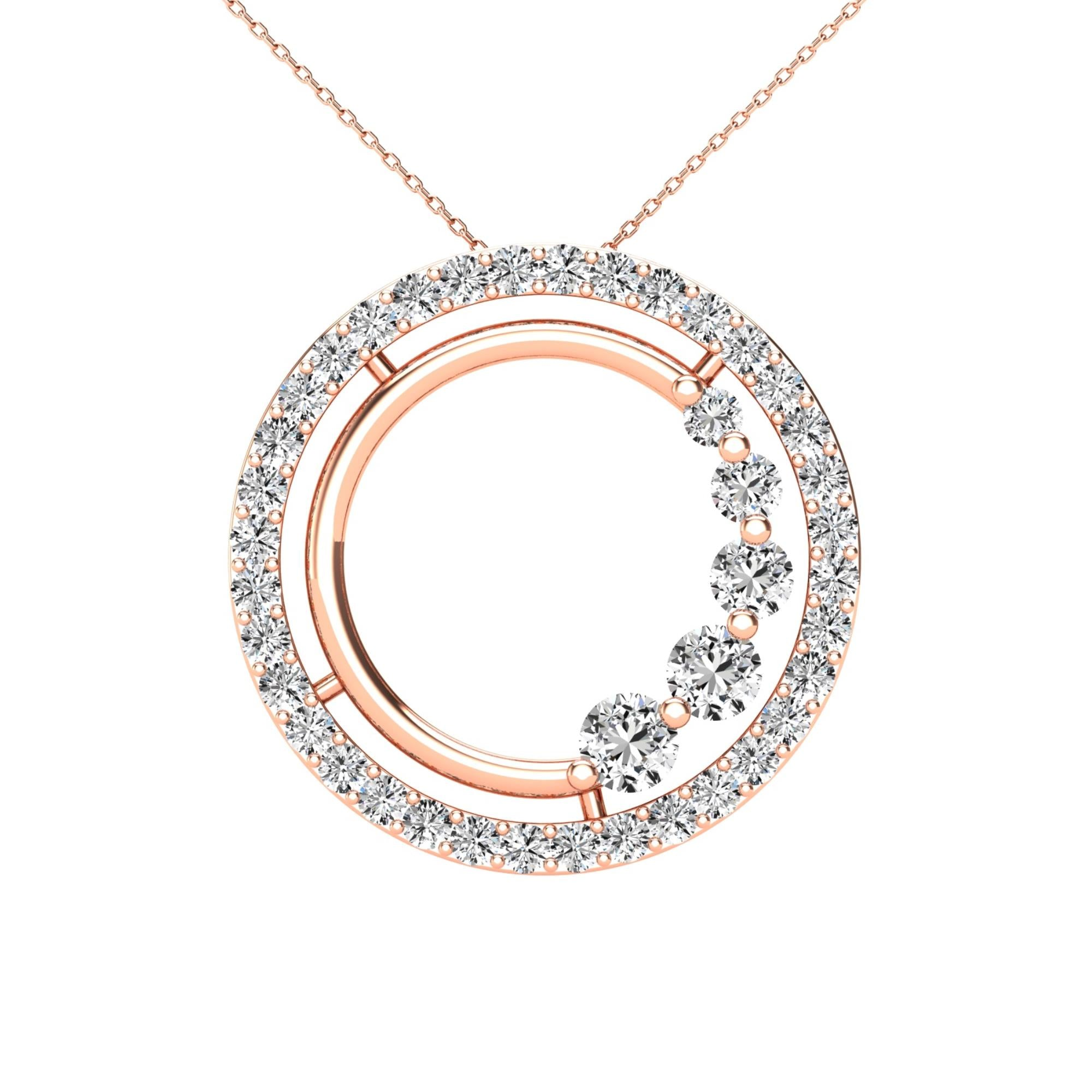 14Kt Rose Gold 0.40 Ct Genuine Natural Diamond Open Circle Design Pendant Necklace