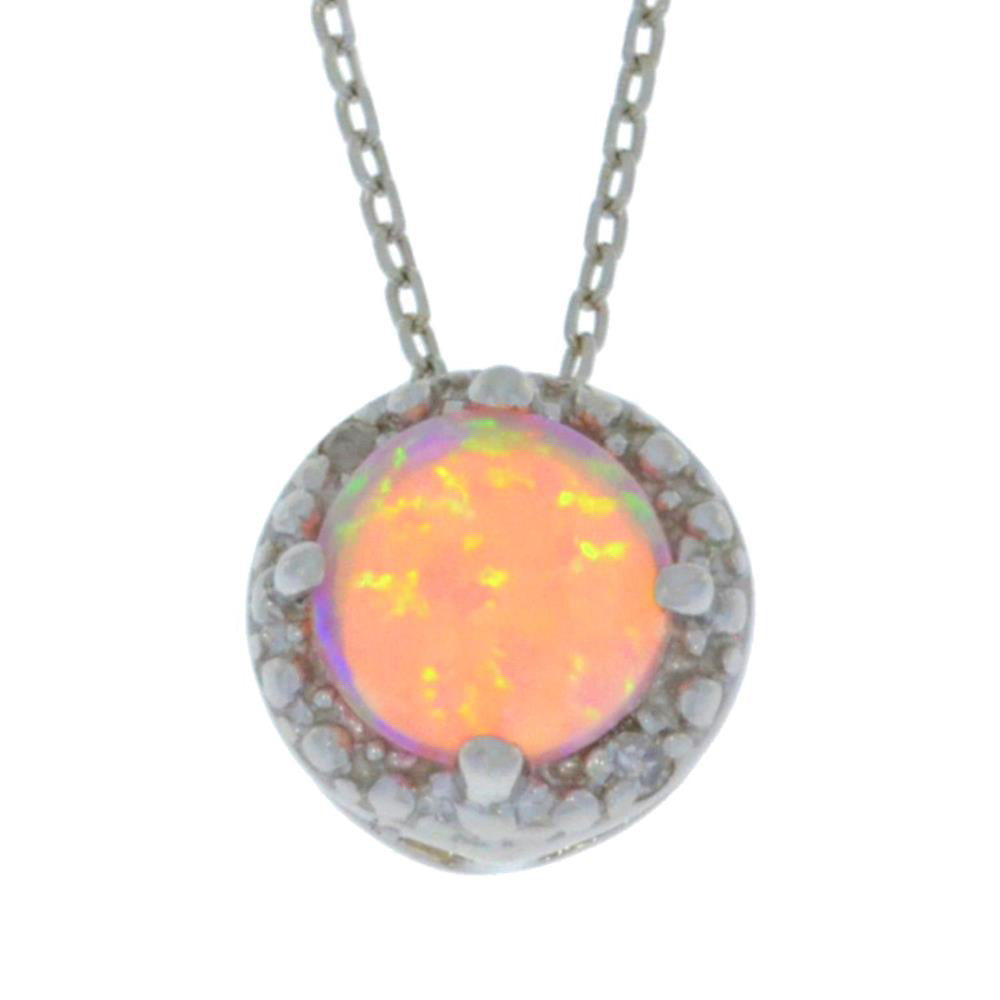 Pink Opal & Diamond Round Pendant .925 Sterling Silver Rhodium Finish