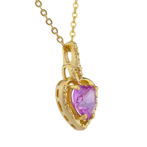 14Kt Yellow Gold Plated Pink Sapphire Heart Design Pendant