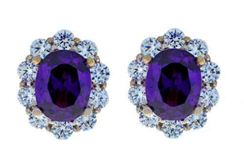 8 Ct Amethyst & Zirconia Oval Stud Earrings .925 Sterling Silver