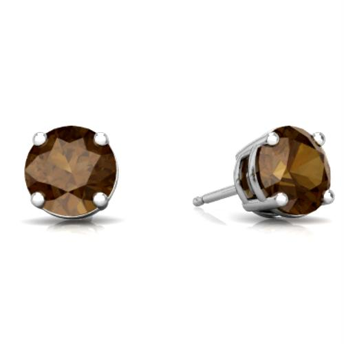 2 Ct Natural Smoky Quartz Round Stud Earrings 14Kt White Gold