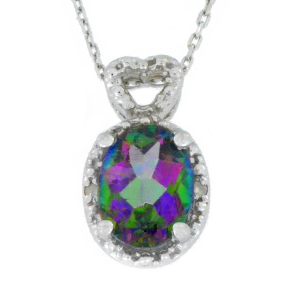 1.5 Ct Genuine Mystic Topaz & Diamond Oval Heart Pendant .925 Sterling Silver Rhodium Finish