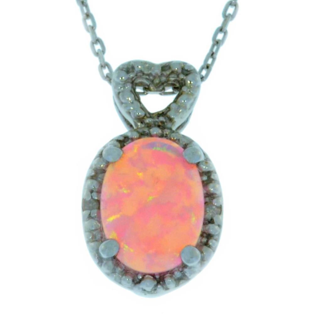 Pink Opal & Diamond Oval Heart Pendant .925 Sterling Silver Rhodium Finish